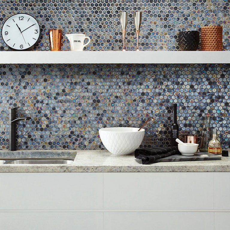 Cali Grey Shimmer Hexagon Mosaic, Kitchen Tiles, Premier Tiles Barrow - the Largest Supplier of Tiles in South Cumbria