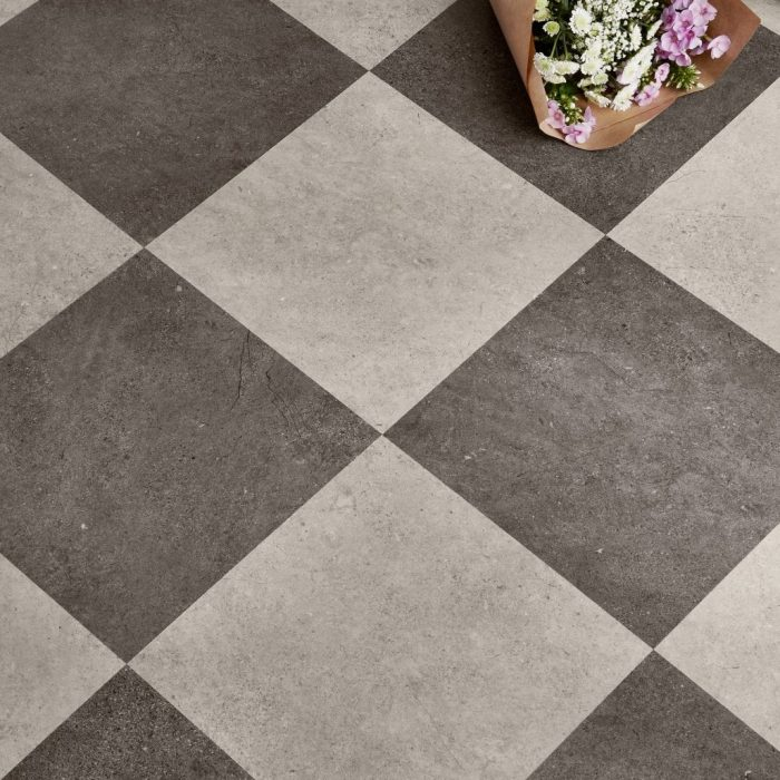 Concrete Chequerboard, Midnight Ash, Premier Tiles Barrow - the Largest Supplier of Tiles in South Cumbria